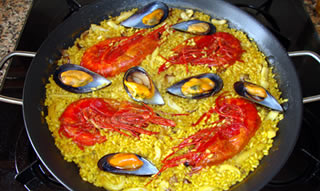 Paella Valenciana of sea food