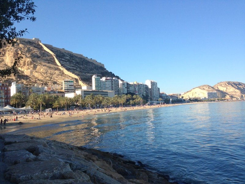 Alicante,Spain-El Postiguet Beach & Castle